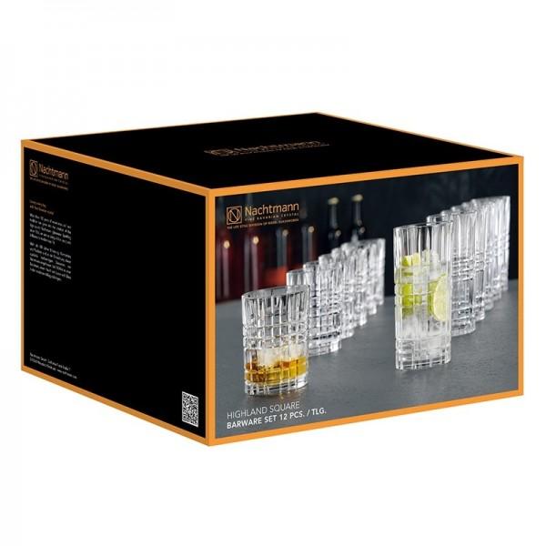 Nachtmann-Highland-Square-Vorteilsset-6-Whiskybecher-und-6-Longdrinkgläser