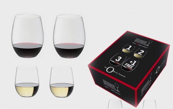 "Riedel ""O"", 2 Cabernet/Merlot + 2 Viognier/Chardonnay Kauf 4 Zahl 3"